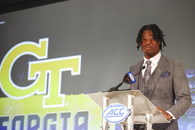Georgia Tech quarterback Jeff Sims listens to a question during an NCAA college football news conference at the Atlantic Coast Conference media days in Charlotte, N.C., Wednesday, July 21, 2021. (AP Photo/Nell Redmond)