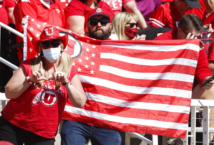 Utah fans cheer during the first half of an NCAA college football game against Washington State, Saturday, Sept. 25, 2021, in Salt Lake City, Utah. (AP Photo/George Frey)