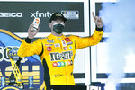 Kyle Busch celebrates in Victory Lane after winning the NASCAR Clash auto race at Daytona International Speedway, Tuesday, Feb. 9, 2021, in Daytona Beach, Fla. (AP Photo/John Raoux)