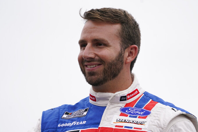 Matt DiBenedetto at a NASCAR Cup Series auto race, Sunday, July 18, 2021, in Loudon, N.H. (AP Photo/Charles Krupa)