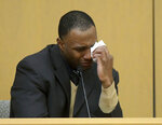 Former NCAA college football player Torrey Green testifies during his rape trial, Tuesday, Jan. 15, 2019, in Brigham City, Utah. Green is accused of raping multiple women while he was a football player at Utah State. (Eli Lucero/The Herald Journal via AP)