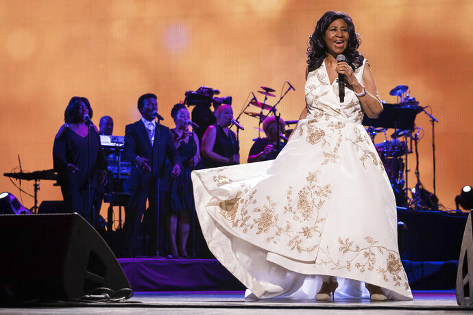 FILE - In this April 19, 2017, file photo, Aretha Franklin performs at the world premiere of