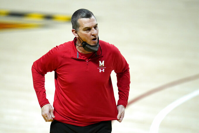 Maryland head coach Mark Turgeon reacts during the second half of an NCAA college basketball game against Nebraska, Wednesday, Feb. 17, 2021, in College Park, Md. (AP Photo/Julio Cortez)