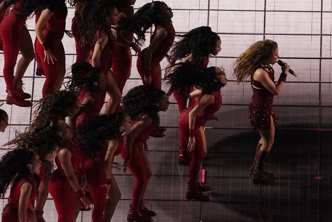 Singer Shakira, right, performs, during the halftime show of the NFL Super Bowl 54 football game between the San Francisco 49ers and Kansas City Chiefs', Sunday, Feb. 2, 2020, in Miami Gardens, Fla. (AP Photo/Morry Gash)