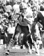 This Oct. 8, 1978, photo provided by the NFL shows San Francisco 49ers tackle Keith Fahnhorst (71) running upfield to block during a football game against the Los Angeles Rams at Los Angeles Coliseum. Former star San Francisco 49ers tackle Keith Fahnhorst has died at 66. The team said Friday he died Tuesday, June 12, 2018. No cause was given. (NFL Photos via AP)