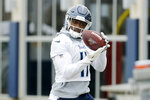 Tennessee Titans wide receiver A.J. Brown catches a pass during an NFL football practice Friday, Jan. 17, 2020, in Nashville, Tenn. The Titans are scheduled to face the Kansas City Chiefs in the AFC Championship game Sunday. (AP Photo/Mark Humphrey)