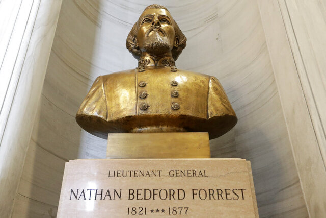 The bust of Nathan Bedford Forrest is displayed in the state capitol Wednesday, July 1, 2020, in Nashville, Tenn. Gov. Bill Lee announced Wednesday that a state panel that has the authority to help remove the bust of the former Confederate general and early leader of the Ku Klux Klan will take up the issue next week. (AP Photo/Mark Humphrey)
