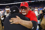 Detroit Lions head coach Matt Patricia, foreground, is hugged by Tampa Bay Buccaneers head coach Bruce Arians after an NFL football game, Sunday, Dec. 15, 2019, in Detroit. (AP Photo/Rick Osentoski)