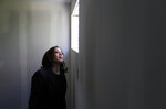 Democratic presidential candidate Sen. Kamala Harris, D-Calif., tours an unfinished building at Veterans Village, Saturday, Nov. 9, 2019, in Las Vegas. (AP Photo/John Locher)
