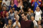 Andy Murray of Britain reacts after winning the European Open final tennis match in Antwerp, Belgium, Sunday, Oct. 20, 2019. Murray defeated Stan Wawrinka of Switzerland 3-6/6-4/6-4. (AP Photo/Francisco Seco)