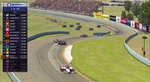 In this image taken from video provided by iRacing IndyCar, IndyCar driver Scott McLaughlin, front, competes in the American Red Cross Grand Prix virtual IndyCar auto race at Watkins Glen International, Saturday, March 28, 2020. (iRacing IndyCar via AP)