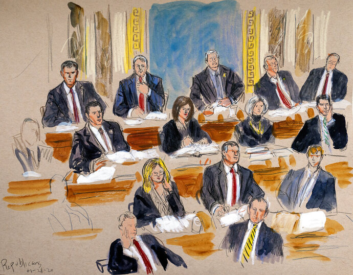 This artist sketch depicts the Republican side of the Senate during defense arguments in the impeachment trial of President Donald Trump on charges of abuse of power and obstruction of Congress, at the Capitol in Washington, Tuesday, Jan. 28, 2020. (Dana Verkouteren via AP)