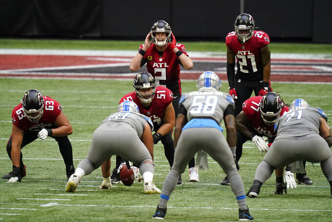 Atlanta Falcons quarterback Matt Ryan (2) calls a play from the line of scrimmage during the first half of an NFL football game against the Detroit Lions, Sunday, Oct. 25, 2020, in Atlanta. (AP Photo/Brynn Anderson)