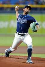 Tampa Bay Rays' Luis Patino pitches to the Boston Red Sox during the first inning of a baseball game Monday, Aug. 30, 2021, in St. Petersburg, Fla. (AP Photo/Chris O'Meara)