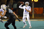BYU quarterback Zach Wilson drops back to pass during the first half of an NCAA college football game against Coastal Carolina, Saturday, Dec. 5, 2020, in Conway, S.C. (AP Photo/Richard Shiro)