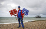 Anti Brexit campaigner Steve Bray poses for a photograph on the beach during the Labour Party Conference at the Brighton Centre in Brighton, England, Monday, Sept. 23, 2019. (AP Photo/Kirsty Wigglesworth)
