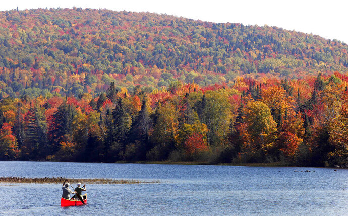 FILE - In this Sept. 27, 2014 file photo, Brad and Sue Wyman paddle their 1930's Old Town Guide canoe along the Androscoggin River as leaves display their fall colors north of the White Mountains in Dummer, N.H.  The New Hampshire Supreme Court on Friday, July 19, 2019 upheld a state committee's rejection of a proposal to bring a hydropower transmission line from Canada to markets in southern New England, possibly dealing a fatal blow to a plan that has raised concerns among communities and environmentalists that it would harm the region's tourism industry and hurt property values. (AP Photo/Jim Cole, File)