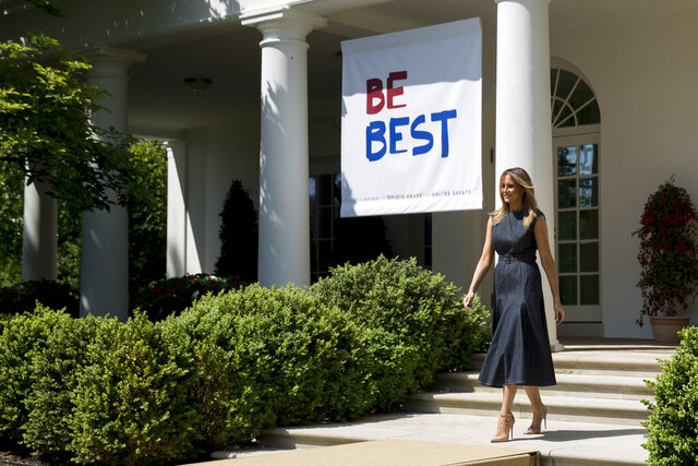 FILE - In this May 7, 2019 file photo, first lady Melania Trump arrives for a one year anniversary event for her Be Best initiative in the Rose Garden of the White House in Washington. Melania Trump has announced plans to renovate the White House Rose Garden. It's the outdoor space steps away from the Oval Office. (AP Photo/Andrew Harnik)