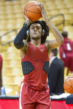 Alabama's John Petty Jr. warms up before the start of an NCAA college basketball game against Missouri, Saturday, March 7, 2020, in Columbia, Mo. (AP Photo/L.G. Patterson)