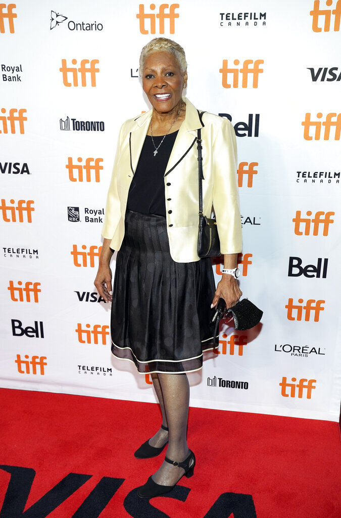 """Singer Dionne Warwick, subject of """"Dionne Warwick: Don't Make Me Over,"""" poses at the premiere of the documentary film at the 2021 Toronto International Film Festival, Saturday, Sept. 11, 2021, in Toronto. (AP Photo/Chris Pizzello)"""