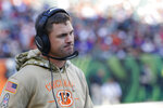Cincinnati Bengals head coach Zac Taylor reacts during the second half of NFL football game against the Cincinnati Bengals, Sunday, Nov. 10, 2019, in Cincinnati. (AP Photo/Frank Victores)
