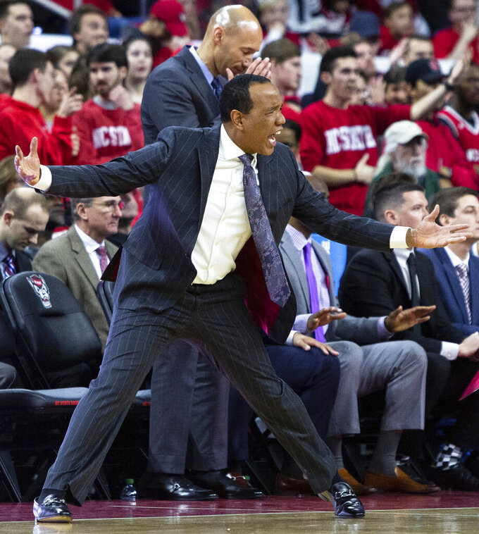 North Carolina State coach Kevin Keatts reacts to a call during the second half of an NCAA college basketball game against Pittsburgh in Raleigh, N.C., Saturday, Jan. 12, 2019. (AP Photo/Ben McKeown)