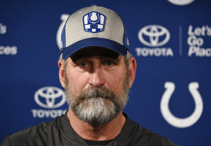Indianapolis Colts head coach Frank Reich talks with the media following an NFL wild card playoff football game against the Houston Texans, Saturday, Jan. 5, 2019, in Houston. (AP Photo/Eric Christian Smith)