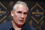 Craig Berube of the St. Louis Blues speaks with the media during a news conference for the NHL Awards, Tuesday, June 18, 2019, in Las Vegas. (AP Photo/John Locher)