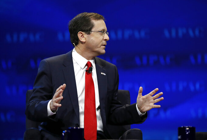 FILE - In this March 27, 2017 file photo, Isaac Herzog, speaks at the AIPAC Policy Conference 2017 in Washington.  Israel's parliament is set to inaugurate Herzog, Wednesday, July 7, 2021, as the nation's president, a largely ceremonial position whose purpose is to forge national unity and serve as the country's moral compass. (AP Photo/Manuel Balce Ceneta, File)