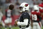 Arizona Cardinals quarterback Kyler Murray flips the ball in the air during an NFL football training camp practice at State Farm Stadium Tuesday, Aug. 6, 2019, in Glendale, Ariz. (AP Photo/Ross D. Franklin)