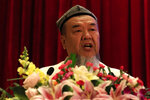 Abdureqip Tomurniyaz, who heads the association and the school for Islamic studies in Xinjiang, speaks during a government reception held for the Eid al-Fitr festival in Beijing on Thursday, May 13, 2021. Muslim leaders from the Xinjiang region rejected Western allegations that China is suppressing religious freedom, speaking at a reception Thursday for foreign diplomats and media at the end of the holy month of Ramadan. (AP Photo/Ng Han Guan)
