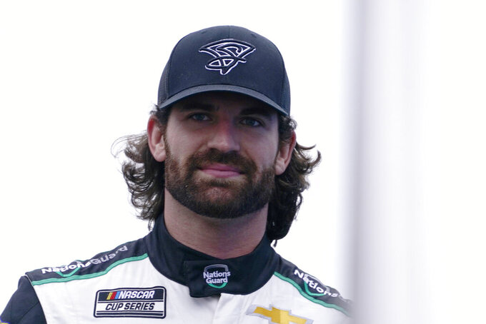 Corey LaJoie at a NASCAR Cup Series auto race, Sunday, July 18, 2021, in Loudon, N.H. (AP Photo/Charles Krupa)