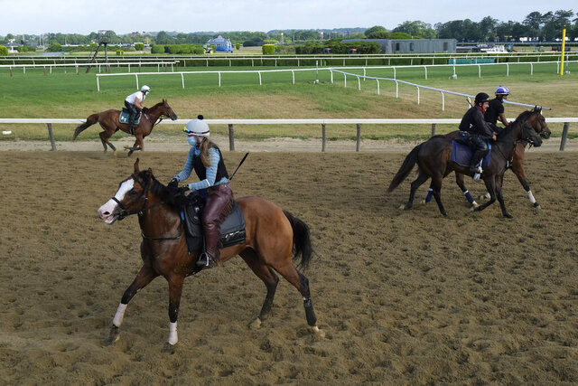 Riders and horses participate in work outs at Belmont Park in Elmont, N.Y., Friday, June 19, 2020. The Belmont Stakes is scheduled to run on Saturday. (AP Photo/Seth Wenig)