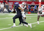TCU running back Darius Anderson (6) runs past Ohio State linebacker Malik Harrison (39) and defensive lineman Robert Landers (67) for a long touchdown run during the first half of an NCAA college football game in Arlington, Texas, Saturday, Sept. 15, 2018. (AP Photo/Michael Ainsworth)