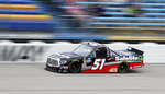 Chandler Smith races his truck during the NASCAR Truck Series auto race, Sunday, June 16, 2019, at Iowa Speedway in Newton, Iowa. (AP Photo/Charlie Neibergall)