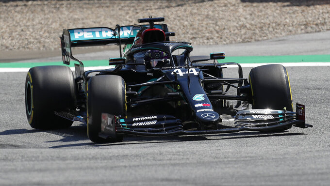 Mercedes driver Lewis Hamilton of Britain steers his car during the second practice session for the Styrian Formula One Grand Prix at the Red Bull Ring racetrack in Spielberg, Austria, Friday, July 10, 2020. The Styrian F1 Grand Prix will be held on Sunday. (AP Photo/Darko Bandic, Pool)