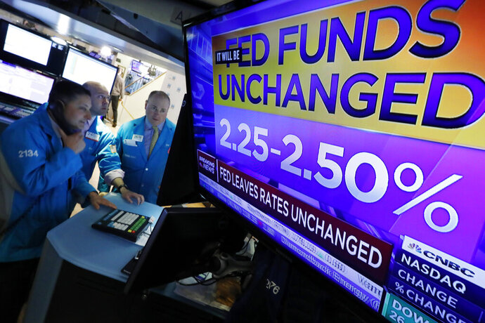 A television screen on the floor of the New York Stock Exchange shows the rate decision of the Federal Reserve, Wednesday, May 1, 2019. The Federal Reserve is leaving its key interest rate unchanged and signaling that no rate hikes are likely in coming months, amid signs of renewed economic health but unusually low inflation. (AP Photo/Richard Drew)