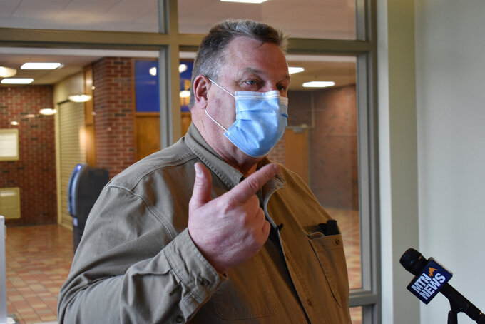 U.S. Sen. Jon Tester, D-Mont, speaks to the media about issues facing veterans at Montana State University-Billings, in Billings, Mont., Monday, April 5, 2021. Tester said getting vaccines in veterans' arms is paramount. (AP Photo/Matthew Brown)