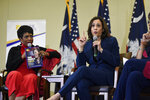 Actress Sheryl Lee Ralph, left, looks on as Democratic presidential hopeful Kamala Harris speaks during a round table on black women's issues on Saturday, Nov. 23, 2019, in Columbia, S.C. (AP Photo/Meg Kinnard)