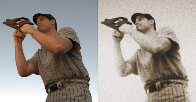 At left is a scene from a commercial showing New York Yankees baseball player Adam Ottavino preparing to pitch to Babe Ruth. At right is the same photo, edited with Adobe After Effects software. Back in December, Ottavino told the MLB.com's Statcast podcast: