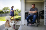Ashley and Jake Lyerla at their home, Tuesday, June 11, 2019, in Milroy, Ind.A federal program to help injured veterans and their spouses conceive children through in vitro fertilization is being hobbled by anti-abortion forces that oppose how the process can lead to embryos being destroyed. Those limitations have been a problem for couples like Jacob and Ashley Lyerla, who needed to use donor sperm and eggs to create viable embryos after three heart-wrenching rounds of IVF using their own genetic material failed. (AP Photo/John Minchillo)
