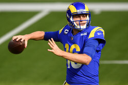 Los Angeles Rams quarterback Jared Goff throws against the San Francisco 49ers during the first half of an NFL football game Sunday, Nov. 29, 2020, in Inglewood, Calif. (AP Photo/Kelvin Kuo)