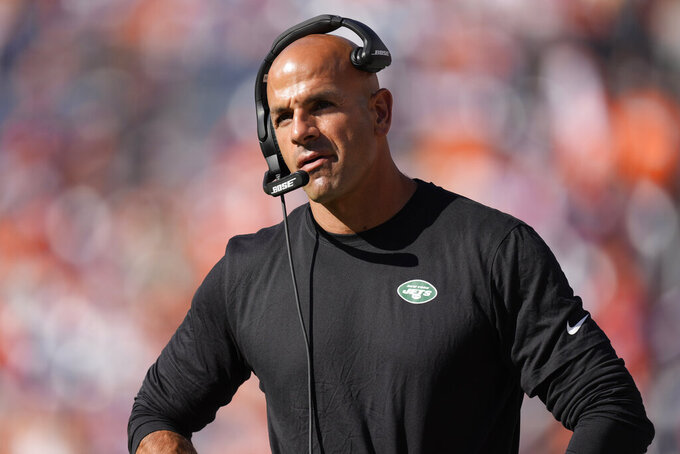 New York Jets head coach Robert Saleh watches during the second half of an NFL football game against the Denver Broncos, Sunday, Sept. 26, 2021, in Denver. (AP Photo/David Zalubowski)