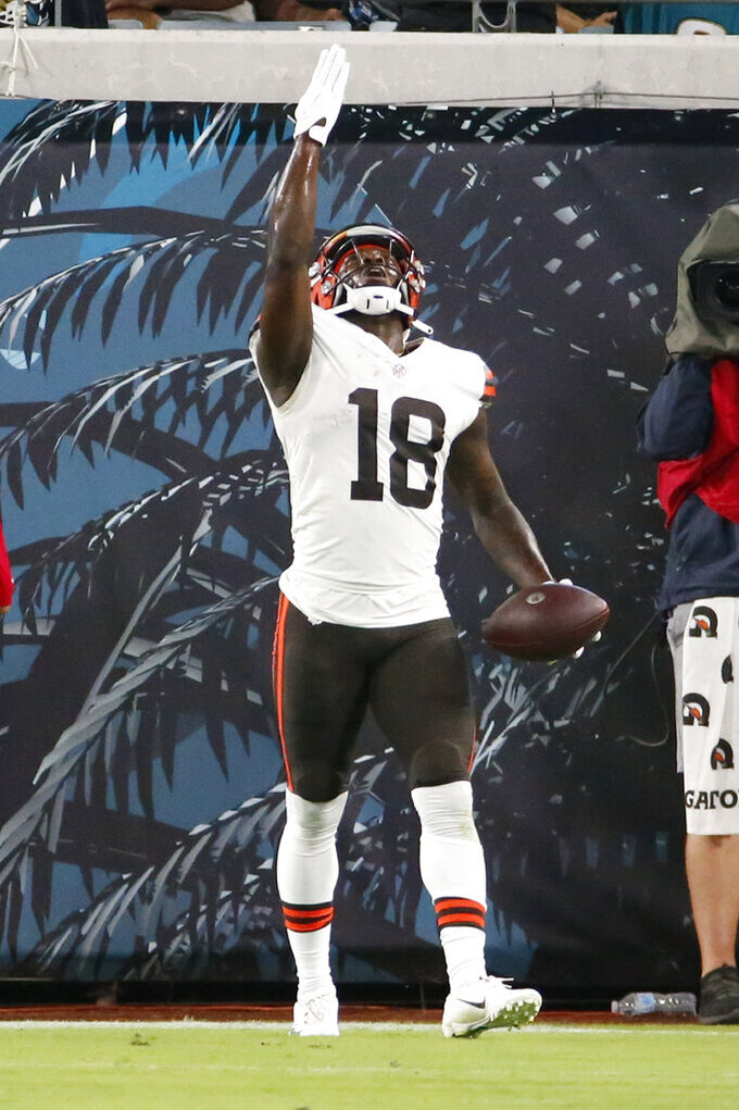 Cleveland Browns wide receiver Davion Davis celebrates after making a reception for a touchdown against the Jacksonville Jaguarsduring the first half of an NFL preseason football game, Saturday, Aug. 14, 2021, in Jacksonville, Fla. (AP Photo/Stephen B. Morton)