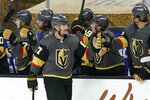 Vegas Golden Knights left wing Max Pacioretty (67) celebrates after scoring his third goal against the St. Louis Blues, during the third period of an NHL hockey game Tuesday, Jan. 26, 2021, in Las Vegas. (AP Photo/John Locher)