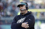 FILE - In this Dec. 23, 2018, file photo, Philadelphia Eagles head coach Doug Pederson stands on the sideline during the first half of an NFL football game against the Houston Texans in Philadelphia. After winning the NFC North, the Chicago Bears host the Eagles in a wild card game packed with story lines on Sunday, Jan. 6, 2019. (AP Photo/Michael Perez, File)