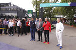From left to right, Michael Masi of the FIA, Australian Grand Prix Corporation Chairman Paul Little, Australian Grand Prix Corporation CEO Andrew Westacott and executive chairman of the Formula One Group Chase Carey, speak to the media about the cancellation of the Formula One Australian Grand Prix at the the Albert Park Circuit in Melbourne, Australia, Friday, March 13, 2020. The first F1 Grand Prix of the season was canceled two hours before the first official practice was set to start Friday after organizers relented to pressure to call it off amid the spreading coronavirus. (Michael Dodge/AAP Image via AP)