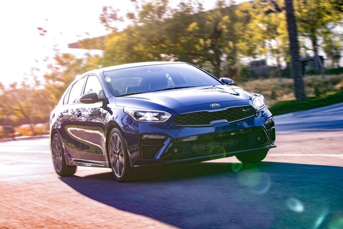 This undated photo from Kia shows the Forte GT, a small sedan that features auto-leveling headlights and automatic high beams. (Courtesy of Kia Motors America via AP)