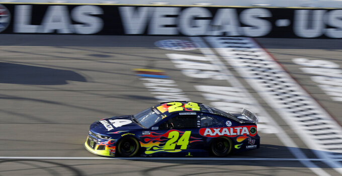 William Byron drives during a NASCAR Cup Series auto race Sunday, Sept. 27, 2020, in Las Vegas. (AP Photo/Isaac Brekken)