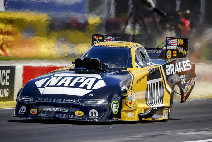In this photo provided by the NHRA, Ron Capps picked up his first win of the season with his Funny Car, Sunday, May 5, 2019, at Atlanta Dragway during the Arby's NHRA Southern Nationals in Atlanta. (Randy Anderson/NHRA via AP)